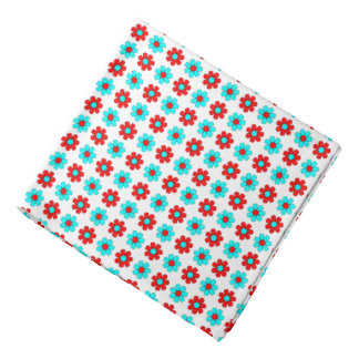 Red and cyan flowers bandana