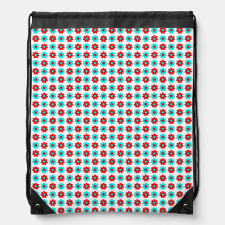 Red and cyan flowers drawstring bag