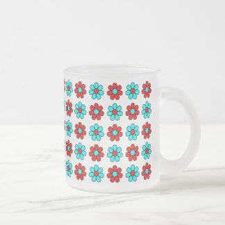 Red and cyan flowers mug