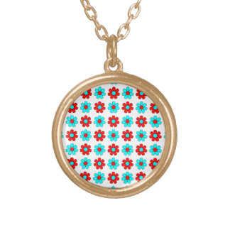 Red and cyan flowers necklace