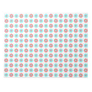 Red and cyan flowers notepad