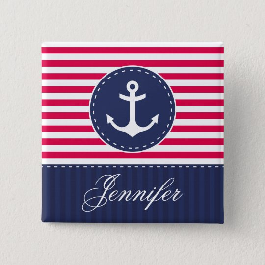 Red and Dark Blue Stripes Anchor With Name 15 Cm Square Badge