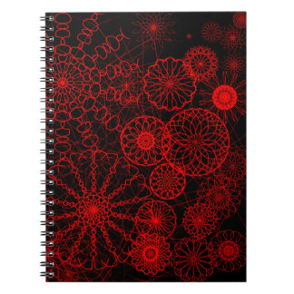 red and dark notebook
