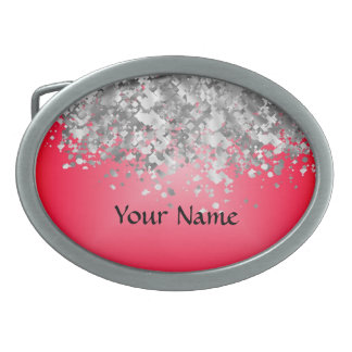 Red and faux glitter belt buckles