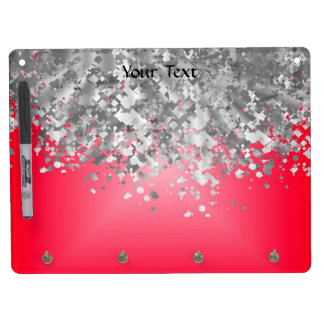 Red and faux glitter dry erase board with key ring holder