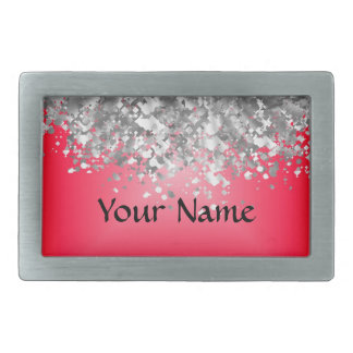Red and faux glitter rectangular belt buckles