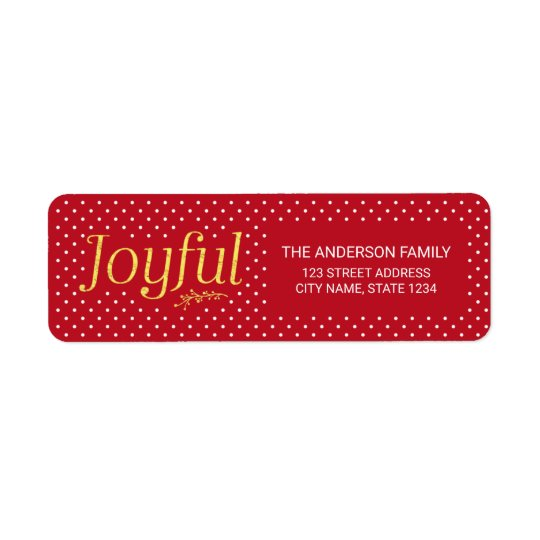 Red and Faux Gold Joyful Holiday Address