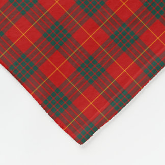 Red and Forest Green Cameron Clan Tartan Fleece Blanket