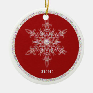 Red and glitter snowflake christmas ornament