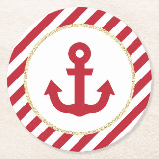 Red and Gold Anchor Coasters