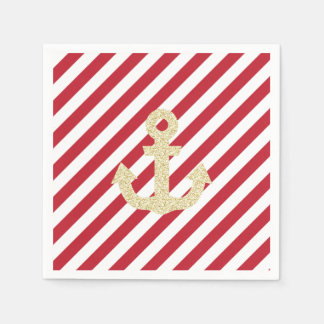 Red and Gold Anchor Napkins Paper Serviettes