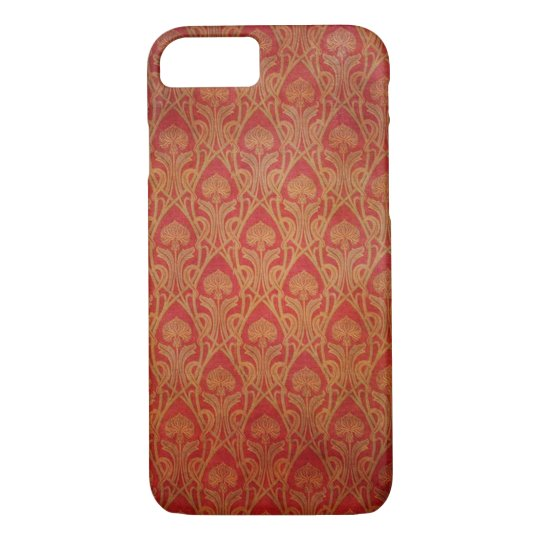 Red and Gold Art Nouveau Damask iPhone 7 Case