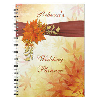 Red and gold autumn leaves Wedding Planner Notebooks