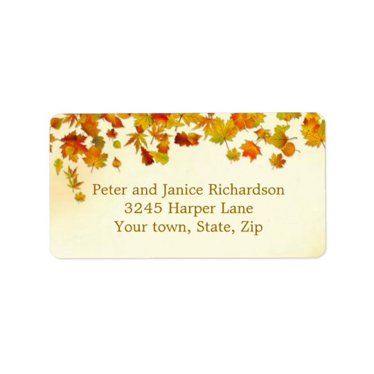 Red and gold autumnal leaves Label