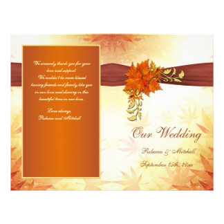 Red and gold autumnal leaves Wedding Program Flyers