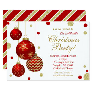 Red and Gold Baubles Christmas Party Invitation