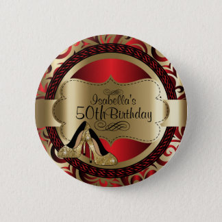 Red and Gold Birthday with Gold High Heels 6 Cm Round Badge