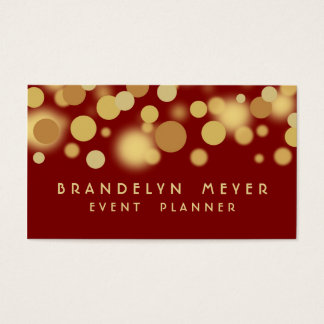 Red and Gold Bokeh Dots Business Card