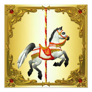 Red and Gold Carousel Horse Birthday Party 13 Cm X 13 Cm Square Invitation Card