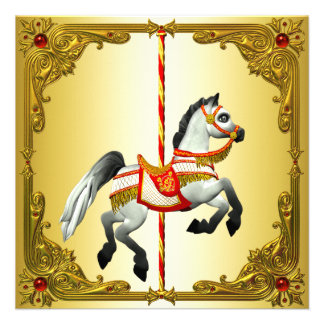 Red and Gold Carousel Horse Birthday Party Invite