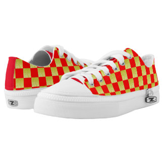RED AND GOLD CHECKED HIGH LOW TOP SNEAKERS