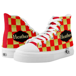 RED AND GOLD CHECKED PERSONALIZED HIGH TOP SNEAKER PRINTED SHOES