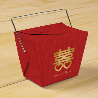 Red and Gold Chinese Double Happiness Favour Box