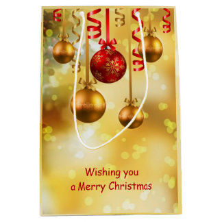 Red and gold Christmas baubles Medium Gift Bag