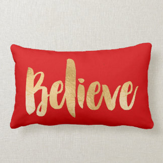 Red and Gold Christmas Pillow Believe