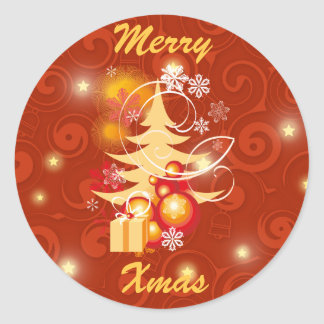 Red and Gold Christmas Presents Round Sticker