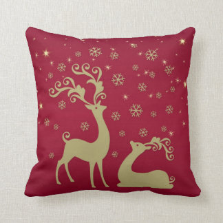 Red and gold Christmas reindeer Cushion