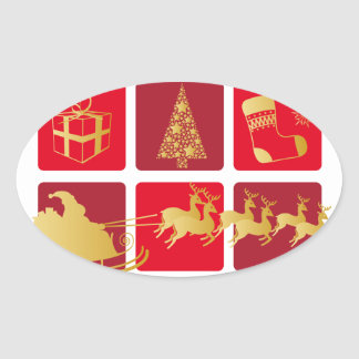 Red and Gold Christmas sticker