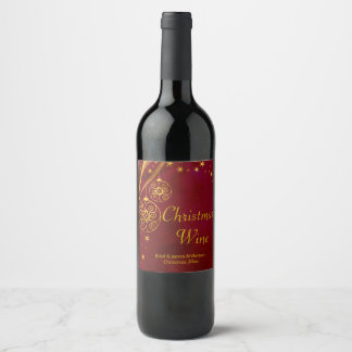Red and Gold Christmas Wine Label