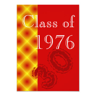 Red and gold Class reunion party 11 Cm X 16 Cm Invitation Card