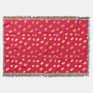 Red and Gold Confetti Throw Blanket