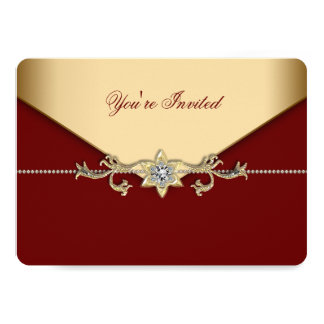 Red and Gold Corporate Party 13 Cm X 18 Cm Invitation Card