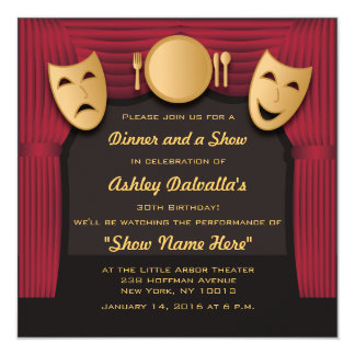 Red and Gold Dinner Theater Party Invitations