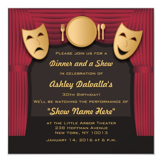 Red and Gold Dinner Theatre Party Invitations
