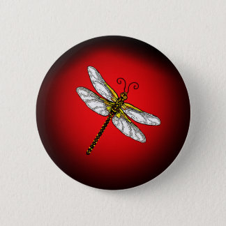 Red and Gold Dragonfly 6 Cm Round Badge