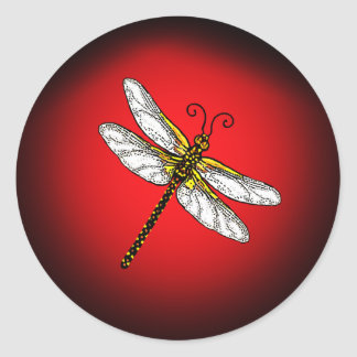 Red and Gold Dragonfly Classic Round Sticker