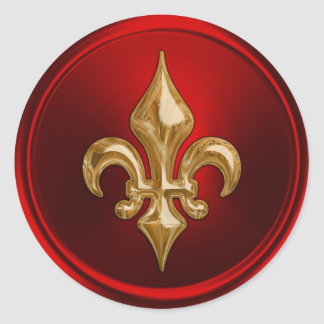 Red and Gold Fleur de Lis Envelope Seal