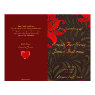 Red and gold floral damask wedding program full color flyer
