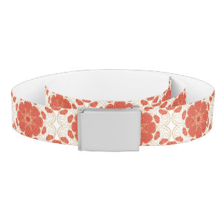 Red And Gold Floral Lace Pattern Belt
