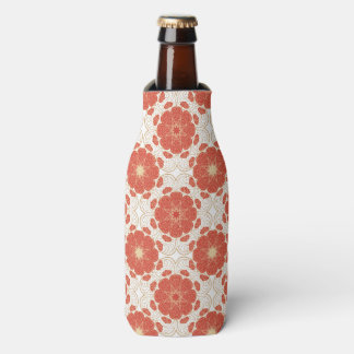 Red And Gold Floral Lace Pattern Bottle Cooler