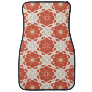 Red And Gold Floral Lace Pattern Car Mat