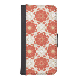 Red And Gold Floral Lace Pattern iPhone SE/5/5s Wallet Case