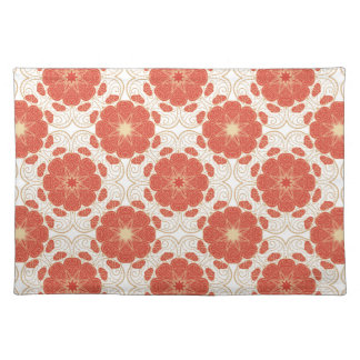Red And Gold Floral Lace Pattern Place Mats