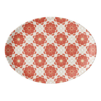 Red And Gold Floral Lace Pattern Porcelain Serving Platter