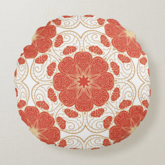 Red And Gold Floral Lace Pattern Round Cushion