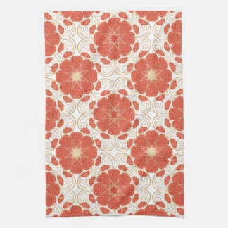 Red And Gold Floral Lace Pattern Tea Towel